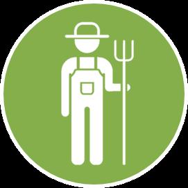Icône agriculteur blanc sur fond vert