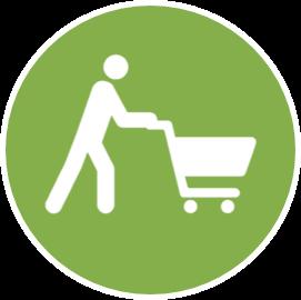 Icône consommateur avec caddie blanc sur fond vert